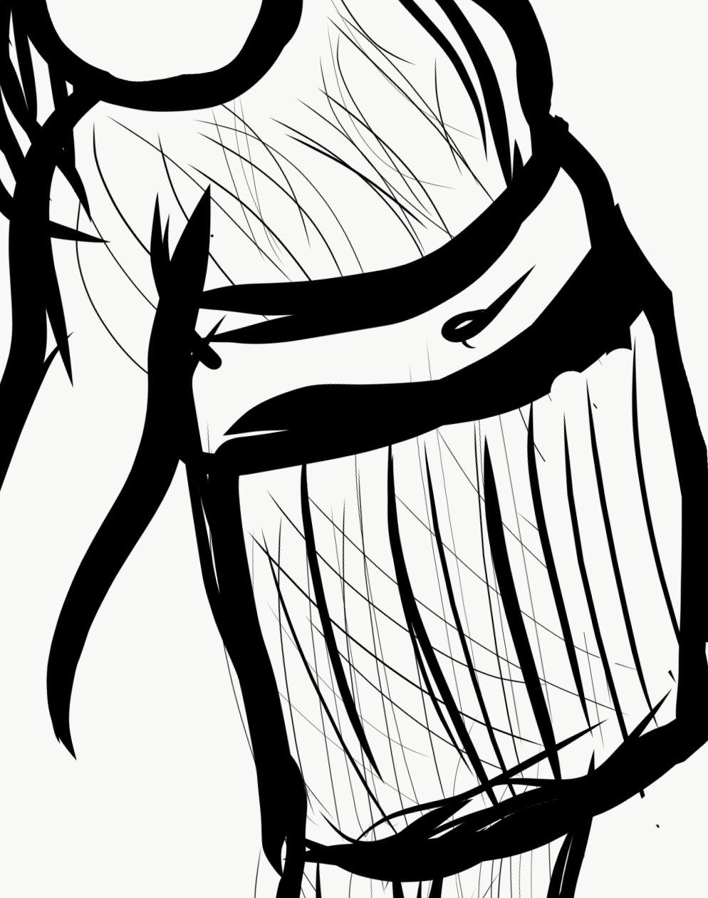 Schwarz-weiß Zeichnung eines Menschen. Nkweeny zeigt sich hier in bauchfreier Kleidung mit schulterlangen Braids.