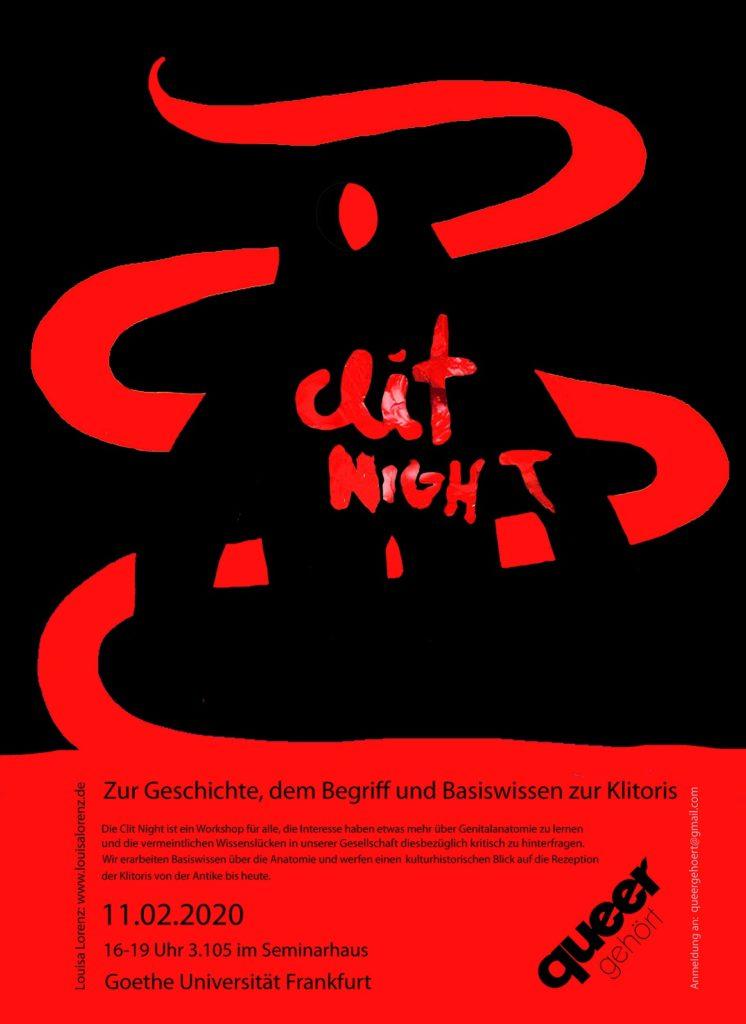 """Plakat der Queeren Ringvorlesung für die Veranstaltung """"Clit Night. Zur Geschichte, dem Begriff und Basiswissen zur Klitoris"""" im Wintersemester 2019"""